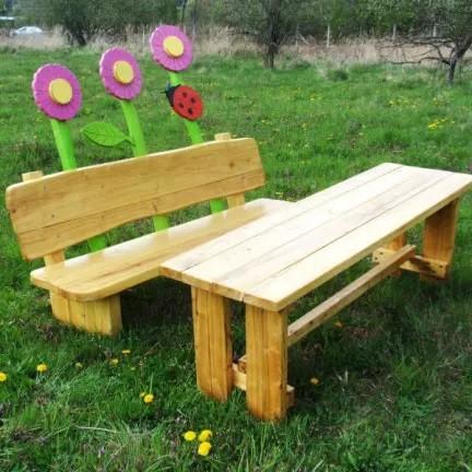 Drevené parkové lavičky (prírodné z agátového dreva)